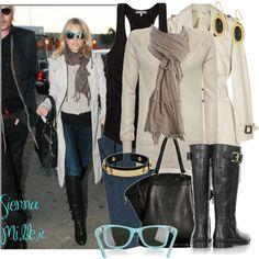 Style Icon: Sienna Miller by sourcat on Polyvore featuring James Perse, Elizabeth and James, J Brand, Burberry, Kara Ross, Crafted, Ray-Ban, Alexander Wang, women's clothing and women's fashion