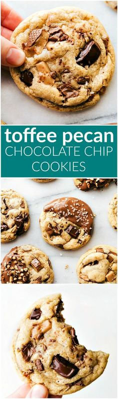Delicious toffee and pecan stuffed chocolate-chip cookies dipped in melted milk chocolate. These toffee pecan cookies are soft & chewy with crisp edges! I chelseasmessyapro...