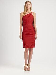 Carmen Marc Valvo - Silk Chiffon One-Shoulder Dress