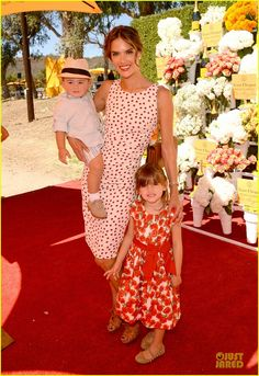 Alessandra Ambrosio takes her kids Anja and Noah to the 2013 Veuve Clicquot Polo Classic on October 5, 2013