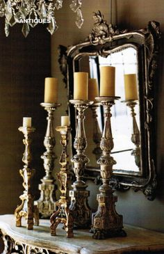 So pretty. the candlesticks, mirror and chandelier. old-antique-french-candle-holders-mirror-greige-neutral-colors-home-decorating-ideas-elegant-decor-european-style-country Candle Holders, Purple Home, Decor, Candlesticks, French Decor, Candlelight, French Candle, Candle Sconces, Candles