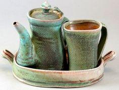 Jim Etzkorn. Solitary tea set : Salt fired stone ware : 9 in h x 9 in l x 5  in,  made in 2015. $110