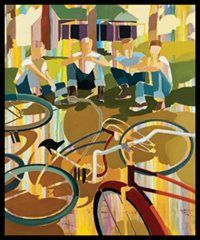 "Signe & Genna Grushovenko ""Boy Line, Bike Triangle"" #vintage #art #festival #CCAF2012"