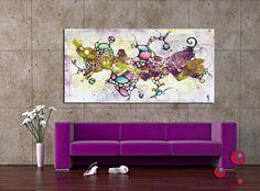 """Tableau abstrait """"Myriade"""", peinture acrylique et papier froissé sur toile"""