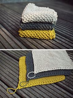 Knit a couple of dishcloths. | 34 Adorable Things To Do With Leftover Bits Of Yarn or cloth trivets