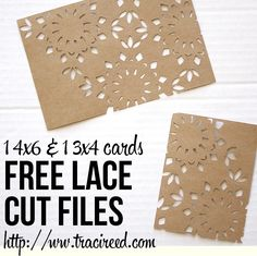Free 3x4 and 4x6 Silhouette Lace Cut Cards from Traci Reed Designs