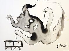 """El """"sorpasso"""" sobrevuela…: Historia del cuadro: El sorpasso… Técnica: Tinta china sobre papel 30x40cm"""
