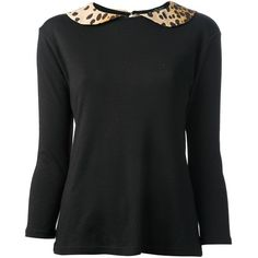 Black wool blend top from Labour Of Love featuring a leopard print peter pan collar, a keyhole fastening at the back, long sleeves and a straight hemline.