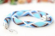 Bead Crochet Necklace Blue Geometry  Geometry