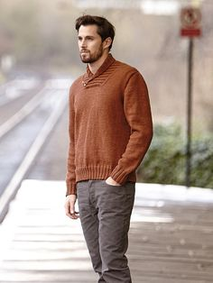 Dalton - Knit this mens stocking stitch sweater from Easy Aran Knits, a design by Martin Storey using the gorgeous Super Fine Merino Aran (merino wool). With full length set-in sleeves and a ribbed shawl collar detail, this knitting pattern is for the intermediate knitter.