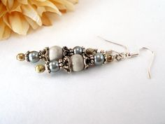 Antiqued Fossil Earrings Fossil Stone Earrings by chicagolandia