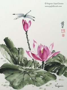 Chinese brush paintings of bamboo, grapes, lotus and birds by Virginia Lloyd-Davies of Fairfield, VA