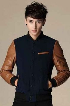 Brown Combined Classic Baseball Korean Style Jacket
