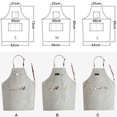 Long gray unisex canvas apron with cow split leather straps. Barber Apron, Cool Aprons, Leather Apron, Apron Designs, Uniform Design, Sewing Aprons, Apron Dress, Unisex, Leather Craft