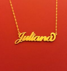 Name Necklace Gold Name Necklace Juliana Name Necklace Birthstone Name Locket Necklace Birthstone Bi Gold Name Necklace, Monogram Necklace, Locket Necklace, Valentine Day Gifts, Valentines, Birthstone Jewelry, Necklace Designs, Birthstones, Fashion Accessories