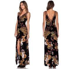 e74c1b5f1a7 Mei Women s Casual Print Party V-Neck Sleeveless Dresses (Mesh Polyester)