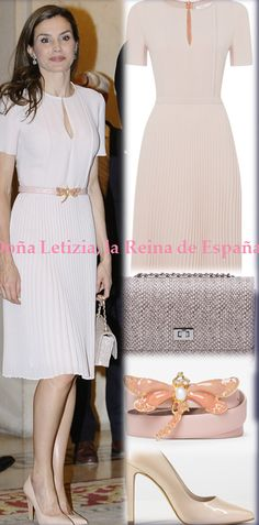 Queen Letizia wore a dress of Hugo Boss, shoes of Lodi, bag of Magrit.