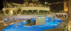 Pool at the Golden Nugget, Las Vegas. Includes an aquarium with a clear tube that snakes through the pool.