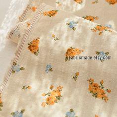 Natürliche Beige Leinen Baumwollgewebe mit kleinen von fabricmade