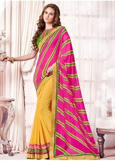 Ethnic Wear Pink & Yellow Georgette Saree  - 73362
