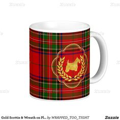 Gold Scottie & Wreath on Plaid Classic White Coffee Mug
