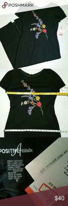 Floral Ribbon Embroidered Black Maxi Dress Never worn Still has tags. Full length is 51 inches. Material is a linen blend and fully lined Positive Attitude  Dresses Maxi