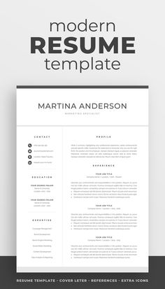 The modern resume template Martina is designed to showcase your skills and experience in a professional and effective way. The layout is optimized for building a resume that is informative, visually attractive and easy to navigate. Includes resume, cover letter and references templates, extra social media and contact icons, and a detailed user guide. Available for Microsoft Word. #resume #resumetemplate #resumedesign #cv #cvtemplate #cvdesign #job #jobsearch #career #careeradvice One Page Resume Template, Modern Resume Template, Creative Resume Templates, Creative Cv, Cover Letter For Resume, Cover Letter Template, Resume References, Create A Resume, Microsoft Word 2007