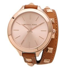 Michael Kors Pyramid Runway Double Wrap Watch - Brown/Rose Gold
