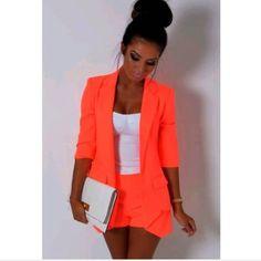 NWT Neon Orange Blazer  NWT  Neon Orange Blazer Size medium Perfect condition Jackets & Coats Blazers