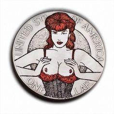 Under Pressure! #S543  Ike Dollar Hobo Nickel Engraved Art by Luis A Ortiz