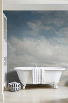 """Light Blue Clouded Wall Mural, Sky Wall Decal, Vintage art removable wallpaper - 118.11"""" x 96.06"""" (300 x 244cm)"""