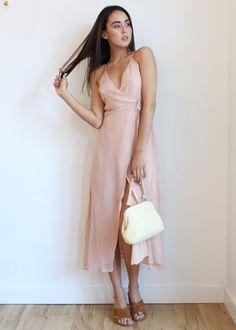 Blush Pink Wrap Dress // Dear Society