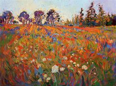 Wildflowers burst with stylized color, in this original oil painting by Erin Hanson