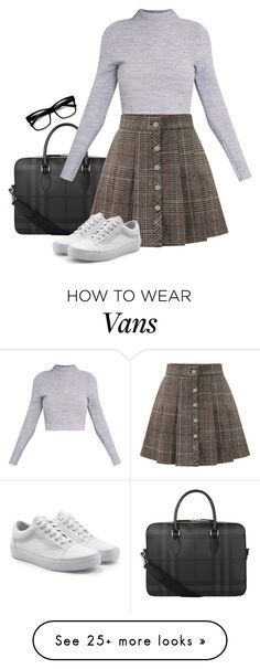 """Untitled #592"" by hamiltrashtm on Polyvore featuring Burberry, WithChic, Vans and ZeroUV"