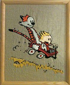 Calvin & Hobbes embroidery for Ben.