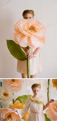 43 DIY Giant Paper Flowers Photo Booth Backdrop