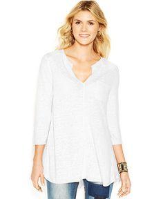 Lucky Brand Three-Quarter-Sleeve Split-Neck Tunic - Tops - Women - Macy's