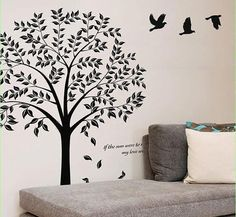 Large Tree Wall Decal-Birds and Tree-Vinyl Wall by IWallstickers