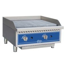 Each burner of this Globe Food Equipment 24 Inch Gas Charbroiler has an individual pilot that is easily accessed from the front panel. With the stainless steel U‐style burners, you get flame every 6 inches. Restaurant Equipment, Cooking Equipment, Food Service Equipment, Countertop Oven, Countertops, Barbecue Grill, Grilling, Small Electric Oven, Infrared Grills
