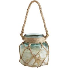Pier 1 Imports LED Rope & Shells Candle ($20) ❤ liked on Polyvore featuring home, home decor, candles & candleholders, colored flameless candles, flameless candles, seashell home decor, led battery candles and flameless led candles
