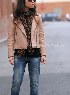 Nude colored quilted leather jacket and leopard print scarf worn by @Linda of Nom Nom Bling Bling