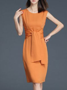 2efe2098f6 Orange Elegant Polyester Crew Neck Midi Dress Vestido Tubinho