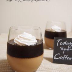 簡単冷やして混ぜるだけ!コーヒースペシャル♪大人なコーヒー牛乳プリン&コーヒーゼリー♪