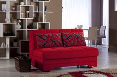 """Twist Story Red Loveseat Sleeper. Smallest full size sofa bed on market. Under 54"""" wide"""