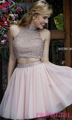 Short Two Piece High Neck Sherri Hill Dress at PromGirl.com
