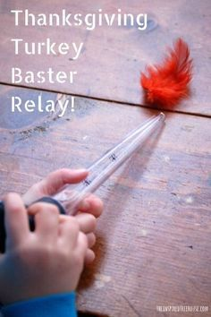 ACTIVITIES FOR KIDS: TURKEY BASTER RELAY A Thanksgiving themed relay activity for kids! Grab some feathers and a turkey baster and come play along! Great for fine and gross motor skills!Activity Activity may refer to: Thanksgiving Activities For Kids, Fall Preschool, Thanksgiving Parties, Preschool Activities, Thanksgiving Turkey, Motor Activities, Thanksgiving Decorations, Halloween Activities, Autumn Activities