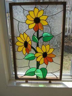 "Vintage Framed Sunflower Stained Glass Panel 25 6 16"" x 16 6 16"" 