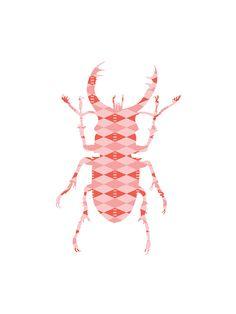 Stag Beetle Print  Vintage Art Print Insect Print von e23graphics