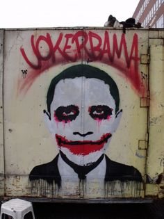 """Obama as joker in Amsterdam. He seems not far removed from the 2008 movie Joker. Where chaos seems normal. The border crisis. The rise of ISIS and Islam everywhere. He does nothing, as if it's normal to him. To quote Judge Jeanine Pirro: """"Barack Obama is comfortable with extremism""""."""