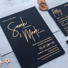 There's been lots of love for navy rose gold wedding invitations this month an. - There's been lots of love for navy rose gold wedding invitations this month and it's quickly be - Gold Wedding Invitations, Wedding Invitation Design, Wedding Stationary, Wedding Cards, Wedding Events, Modern Invitations, Invitation Suite, Black And Gold Invitations, Fonts For Wedding Invitations